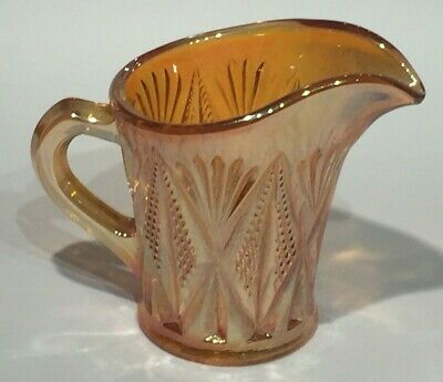 VINTAGE 1920's SOWERBY CARNIVAL GLASS MILK JUG OR CREAMER 'SPLIT DIAMOND' DESIGN