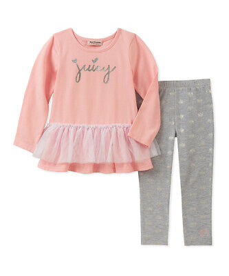 Juicy Couture Baby Girls Pink 'Juicy' Top and Gray Leggings Set - Sz 24 mos