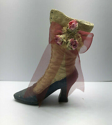 * Blue & White Ceramic High Heel Decorative Figurine Collectible Shoe with Roses