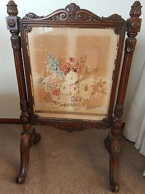 Antique Mahogany Tapestry Fire Screen