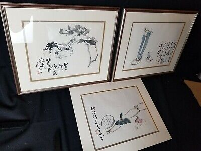 Collection Of 3 High Quality WANG XUETAO Chinese Watercolor Prints