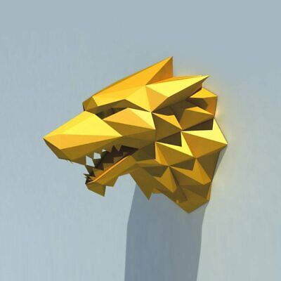 3D Paper Model Toy Wolf Head Animal Home Decor Living Room Decor DIY Paper Craft