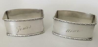 """Wonderful Sterling silver napkin ring pair. Engraved """"Yours"""" and """"Mine"""""""