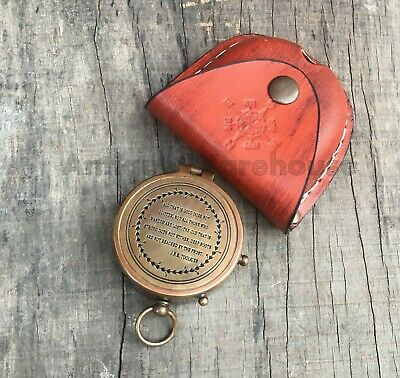 Maritime Antique Brass Working Compass With Leather Case Marine Pocket Compass G