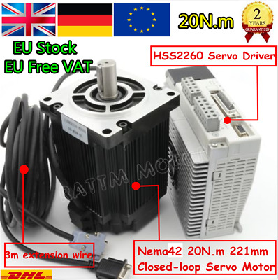 NEMA42 110x221 Closed Loop CNC Servo Motor 20N.m 6A&Stepper Driver&3m Cable『UK』