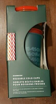 Starbucks 2019 Holiday Reusable Venti Tumbler Cold Cup (5 Cups, 24 OZ each)