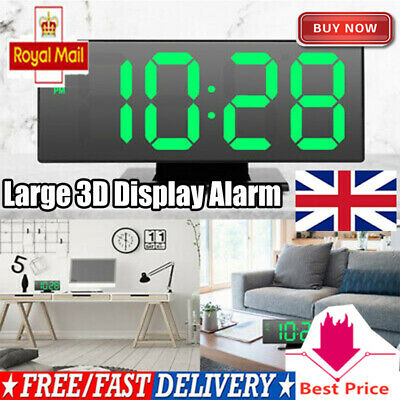USB LED Digit Table Wall Clock Large 3D Display Alarm Clock Brightness Dimmer UK