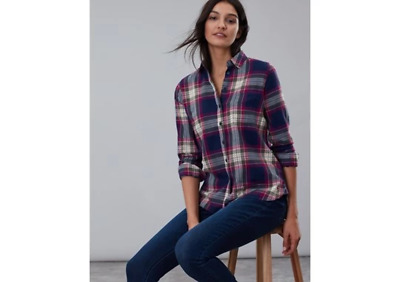 Joules Ladies Lorena Longline Brushed Woven Shirt Berry Check