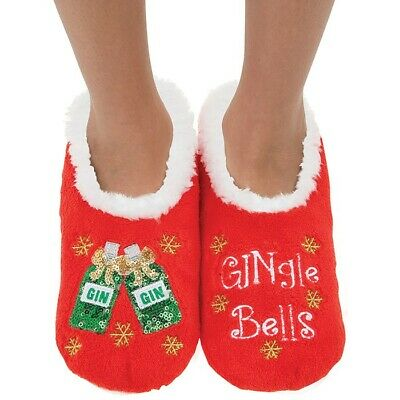 Christmas Ladies Slipper Snoozies! Sequin Detail Gingle Bells Design Ideal Gift