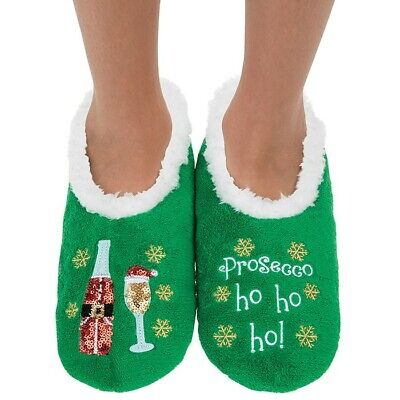 Christmas Ladies Slipper Snoozies! Sequin Prosecco Ho Ho Ho  Design Ideal  Gift