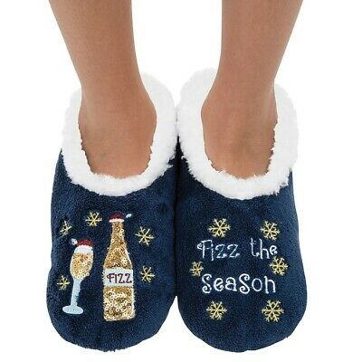 Christmas Ladies Slipper Snoozies! Sequin Fizz the Season Design Ideal  Gift