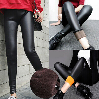 Leder Damen Matt Optik Leggings Dick Gefuttert Thermo Hose Hohe Taille Leggins
