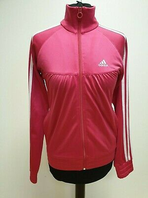 L670 Girls Adidas Pink White Stripe Zip Tracksuit Running Top Uk 13-14 Yrs