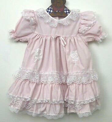 Vintage Baby Dress Pink Frilly Lace Ruffles Floral 1990s Size 00 Six Months