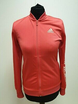 L673 Girls Adidas Coral Zip Front Side Pockets Tracksuit Top Uk 13-14 Yrs
