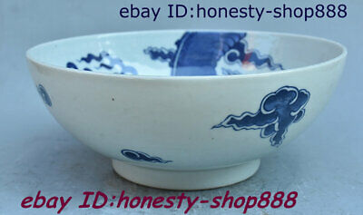 Antique Chinese Blue And White Porcelain Dragon Loong Wine Bowl Cup Plate Teacup