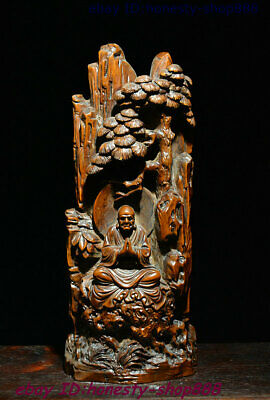 Collect Chinese Bxowood Wood Carved Arhat Damo Bodhidharma Dharma Buddha Statue
