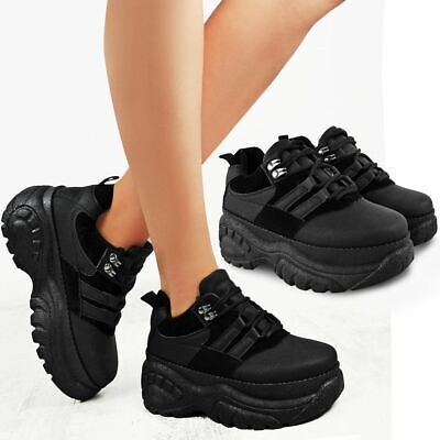 Womens Ladies Trainers Lace Up Ankle High Chunky Platform Sole Shoes Pumps Size