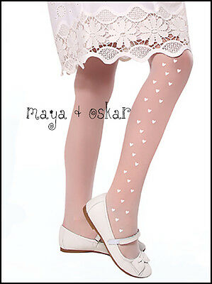 Girls Sheer Tights Hearts Pattern Flower Girl Wedding Communion Hosiery 20 DEN