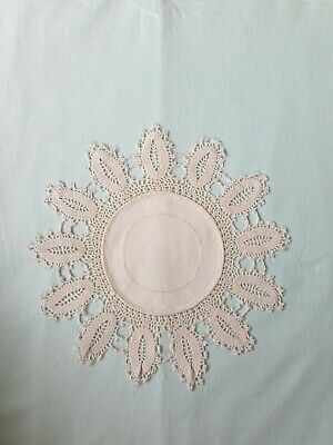 Vintage Crochet Lace Dressing Table Place Mat Tray Cloth Doily Doilies 10.5 inch