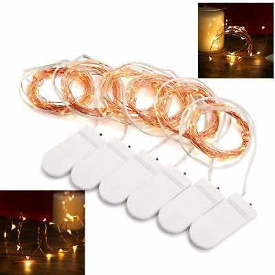 6 Pack Rice Wire Copper Fairy String Lights Party 2M 20 LED Battery Micro UK