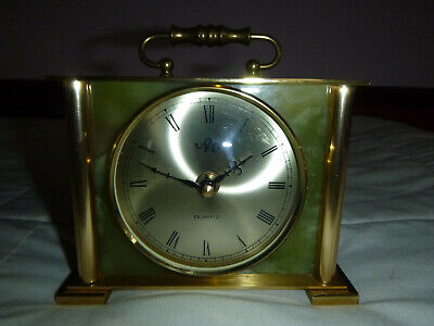 Vintage 1980's URA Mantle Clock Green Onyx, Solid brass frame, fully working