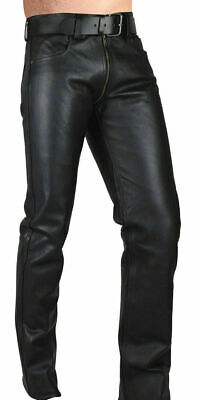 Mens Soft Leather Double Zip Pant Trouser  Bluf Biker Black Breeches Uniform