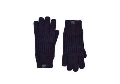 Joules Mens Bamburgh Gloves Cable Knit Gloves Midnight Navy Blue