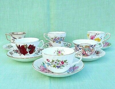6 mismatched vintage & antique china tea cups & saucers - reds, pinks, browns