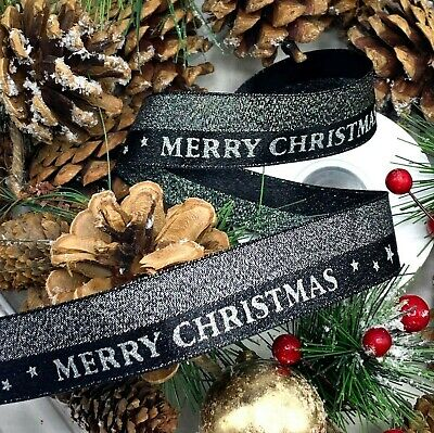 "1"" Black Silver Merry Christmas Ribbon Metallic Glitter Star Gift Tree Cake Xmas"