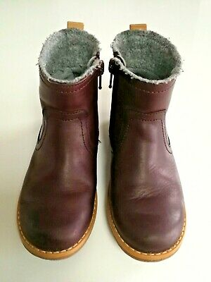 Clarks Toddler Girls Comet Frost Boots Burgandy Leather - Size 9F - VGC
