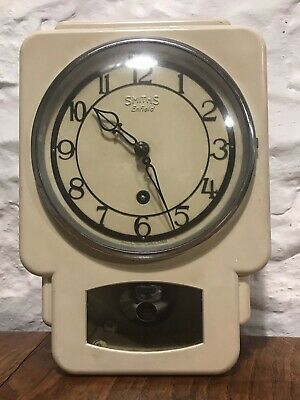 Rare Vintage Smiths Enfield Key Wound Metal Wall Clock