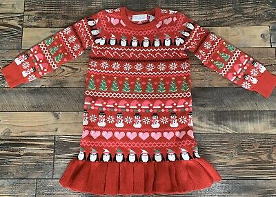 The Childrens Place NWT Girls Christmas Fair Isle Penguin Sweater Dress 5t