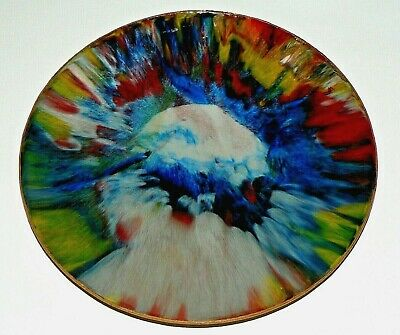Vtg Mid Century Mexico Art Painted Pigskin Seetusee Decorate Glass Plate