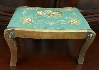 Vintage Wooden Footstool Floral Needlepoint Peach Flowers Green Canvas