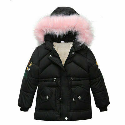 Kids Boys Girls Winter Warm Lined Hooded Padded Jackets Faux Fur Quilted Coats