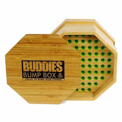 Buddies KING SIZE Wood RAW Pre-Rolled Cone Filler Loader Bump Box Fills 76 cones