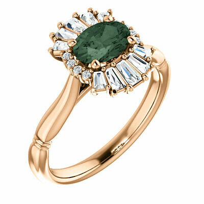 Chatham® Created Alexandrite & 1/4 CT Diamond Halo-Style Ring In 14K Rose Gold