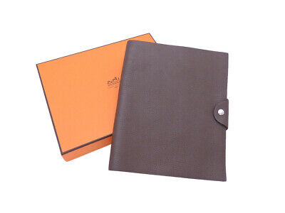 Auth HERMES Square H (2004) Ulysse MM Note Cover Dark Brown Togo Leather e43159