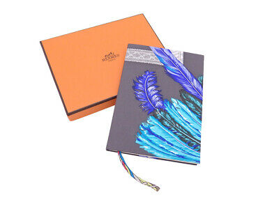 Auth HERMES Blank Notebook Gray/Blue Silk/Paper - e43164