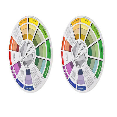 2x Color Mixing Guide Wheels-Paint Matching Pigment Blending Palettes Chart