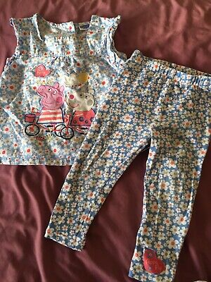 Girl Peppy Pig Suzy Sheep Set Top And Leggings Age 2-3 Years