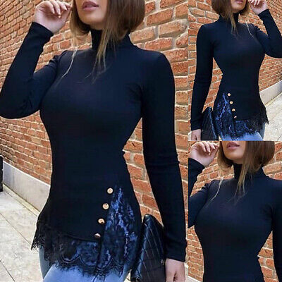 Womens Lace Floral Slim Fit Long Sleeve Shirt Ladies Casual Holiday Tank Top
