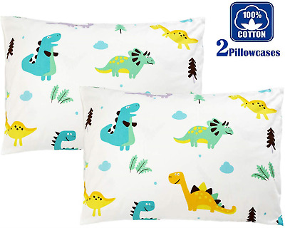 TEALP Baby Toddler Cot Bed Pillow Cases 40cm x 60cm, 100% Cotton-Dinosaur