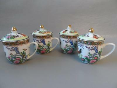 Chinese Hand Painted 4 X Cockerels Lidded Mugs / Chocolate Pots