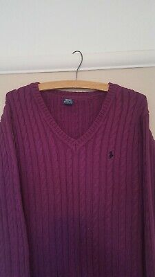 Polo Ralph Lauren Ladies Womens Pink V Neck Cable Knit Sweater Jumper •Size L•