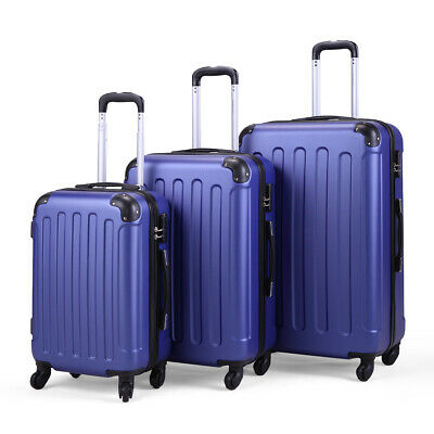3 Piece Luggage Set Carry On Trolley Suitcase Travel Spinner ABS+PC w/Cover Blue