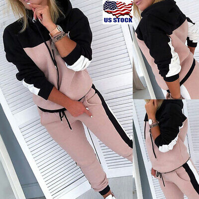2Pcs Womens Hoodies Sweatshirt Tops Pants Set Tracksuit Sport Lounge Wear Suit