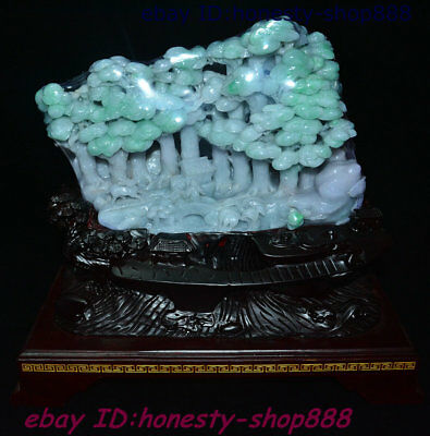 13 Old Chinese Natural Jadeite Emerald Jade Pine People Ornament Art Work Statue