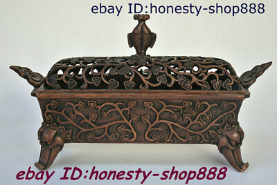 """12"""" Old Chinese Bronze Fish Beast Head Incense Burner Censer Incensory Thurible"""